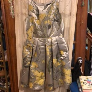 Silver dress with yellow flowers